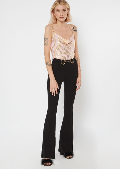 black belted flare pants - Main Image