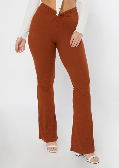 brown twist front soft flare pants - Main Image