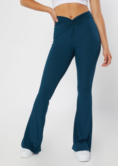 blue twist front super soft ribbed knit flare pants - Main Image