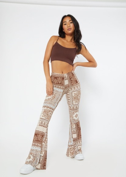 brown patchwork print super soft flare pants - Main Image