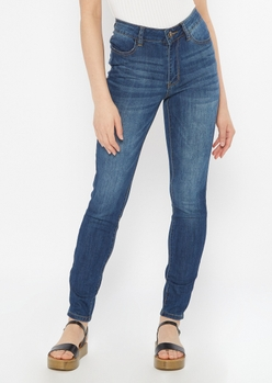 ultimate stretch dark wash high waisted jeggings in regular - Main Image