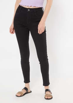 ultimate stretch black high waisted jeggings in short - Main Image