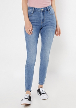 ultimate stretch medium wash high waisted jeggings in short - Main Image