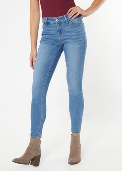 ultimate stretch medium wash mid rise jeggings in long - Main Image