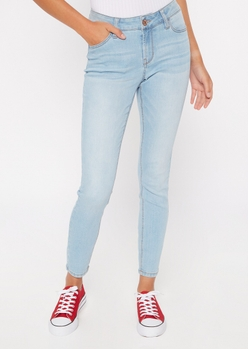ultimate stretch light wash mid rise jeggings in short - Main Image