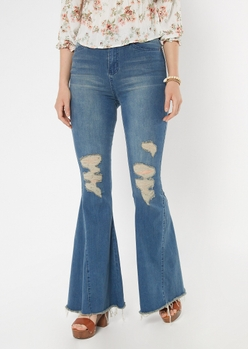 medium wash ripped wide flare jeans - Main Image