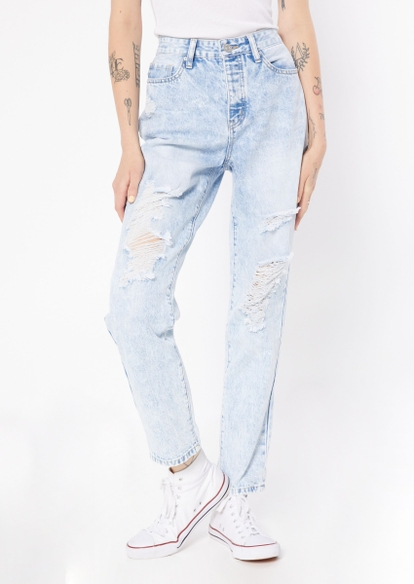light wash super high rise ripped mom jeans - Main Image