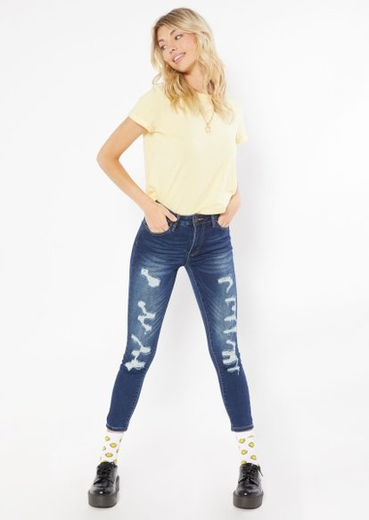dark wash high rise cozy ripped jeans - Main Image