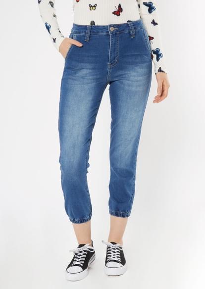 medium wash cozy knit jogger jeans - Main Image