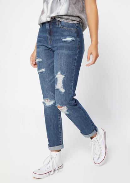 dark wash high rise ripped leg roll cuff mom jeans - Main Image