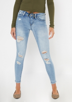 ymi light wash ripped mid rise jeggings - Main Image