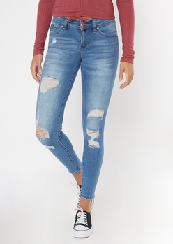 ymi medium wash ripped mid rise jeggings - Main Image