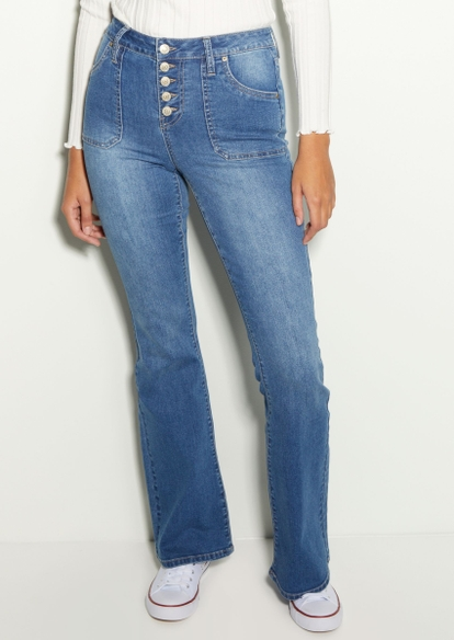 dark wash high rise exposed button flare jeans - Main Image