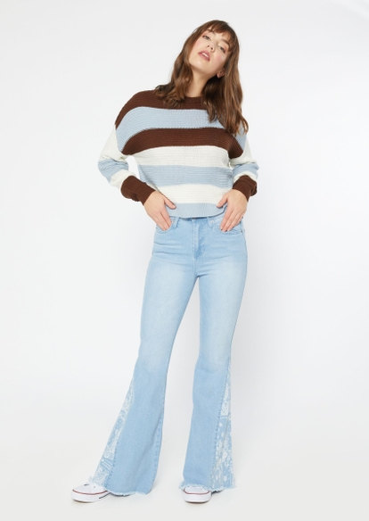 light wash bandana print inset flare jeans - Main Image