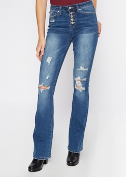 medium wash ripped button front flare jeans - Main Image