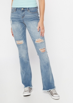 medium wash ripped frayed skinny flare jeans - Main Image