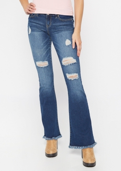 dark wash ripped frayed skinny flare jeans - Main Image