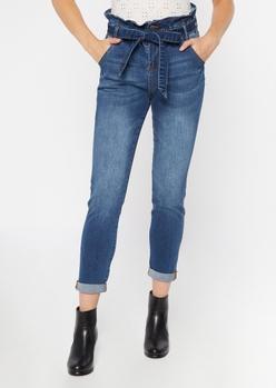 dark wash paperbag waist cuffed skinny jeans - Main Image