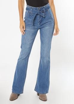 medium wash paperbag waist flare jeans - Main Image