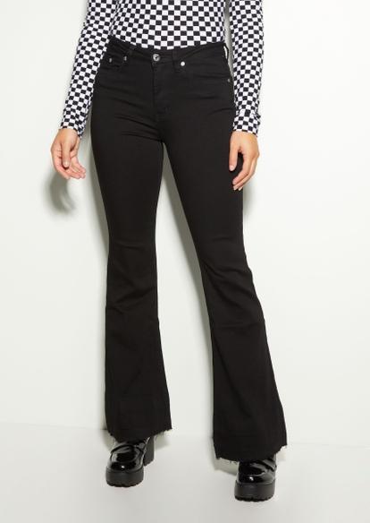 black super high rise raw edge flare jeans - Main Image