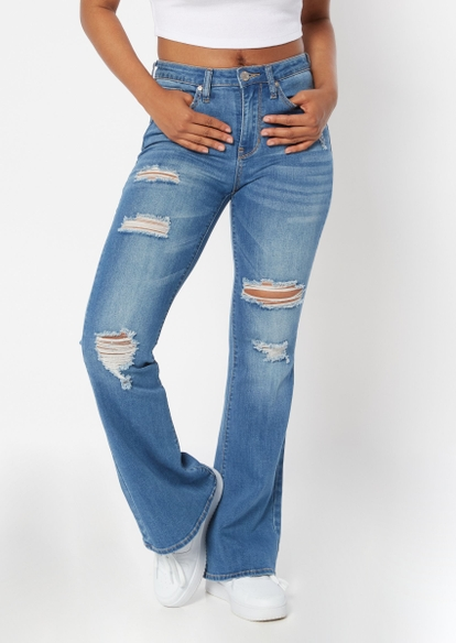medium wash ripped slit high rise flare jeans - Main Image