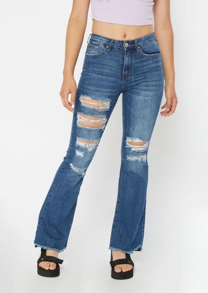 dark wash high rise ripped frayed hem flare jeans - Main Image