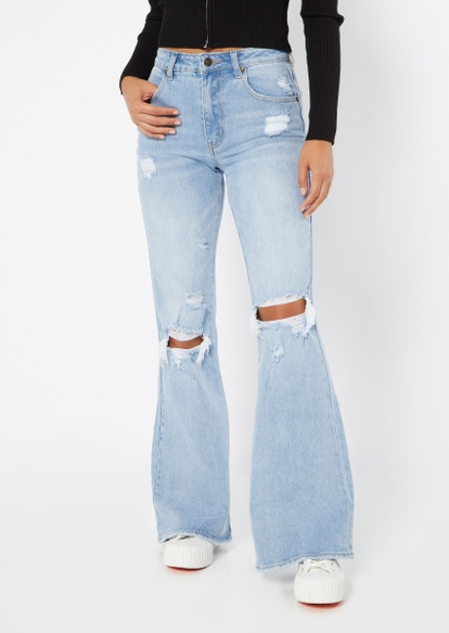 light wash high rise ripped knee 90s flare jeans - Main Image
