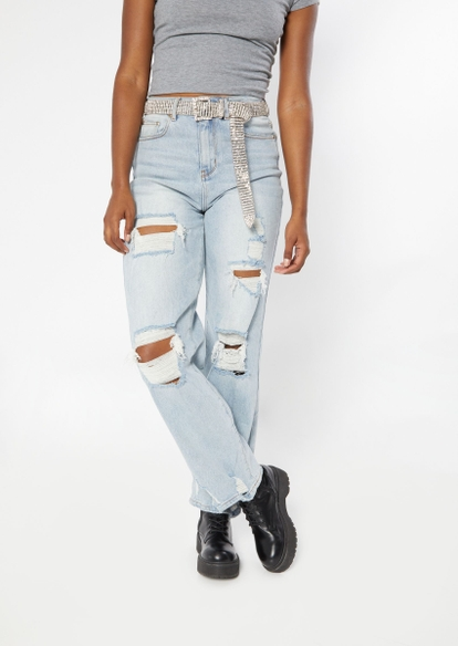 light wash super high rise ripped skate jeans - Main Image
