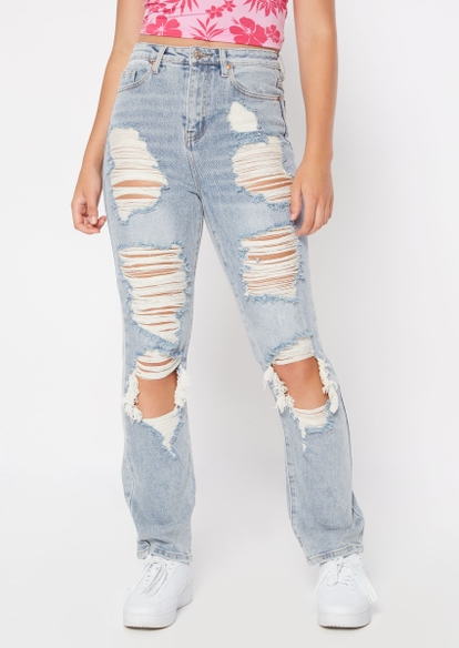 light wash super high rise ripped straight leg jeans - Main Image
