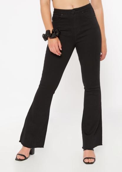 black lace up back flare jeans - Main Image