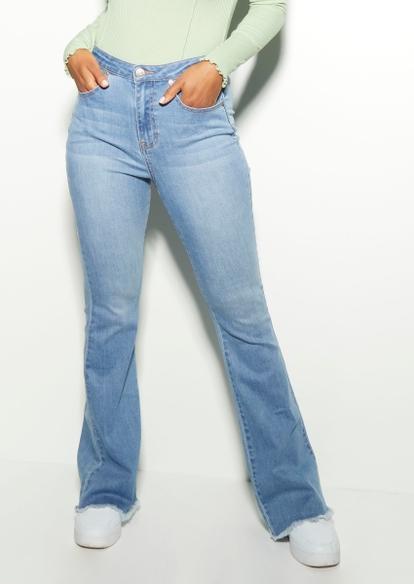 medium wash lace up back flare jeans - Main Image