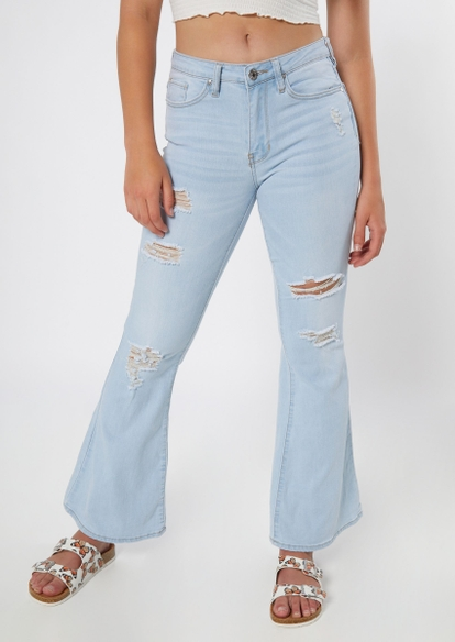 light wash ripped flare jeans - Main Image