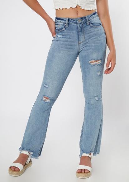 medium wash ripped frayed flare jeans - Main Image
