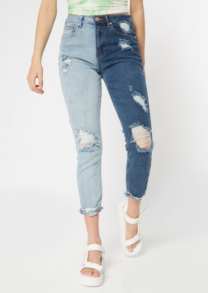 dark two tone ripped ankle mom jeans - Main Image
