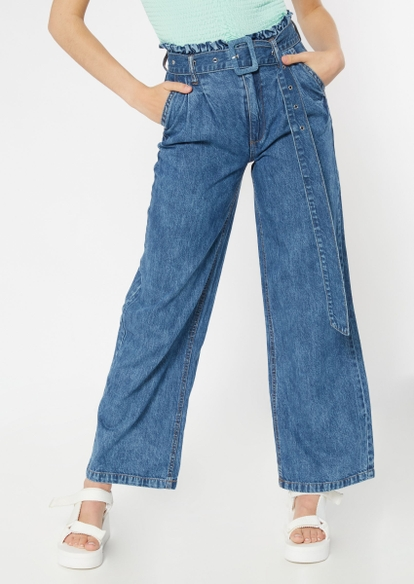 dark wash paperbag waist flare jeans - Main Image