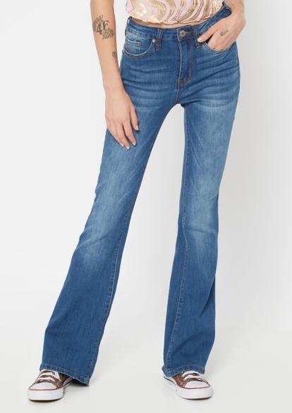 dark wash high rise flare jeans - Main Image