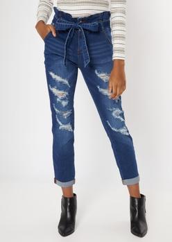 dark wash paperbag sash waist roll cuff jeans - Main Image