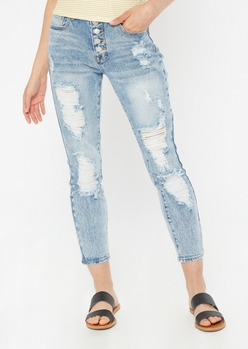 medium wash throwback ripped button fly mom jeans - Main Image