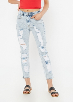 light acid wash throwback extra ripped mom jeans - Main Image