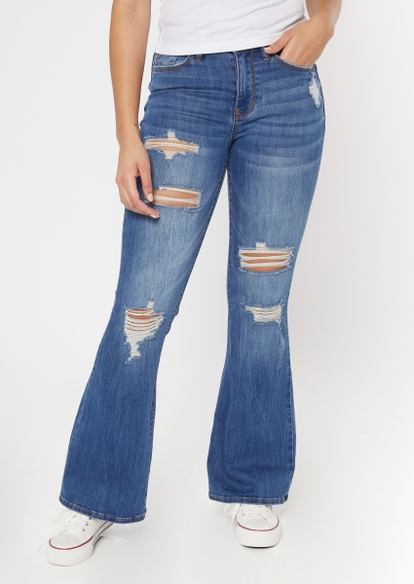 medium wash high waisted ripped flare jeans - Main Image