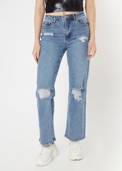 medium wash ultra high waisted skater jeans - Main Image