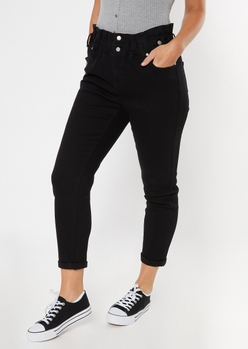 black paperbag waist rolled hem skinny jeans - Main Image