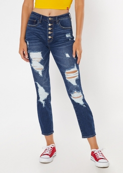 dark wash button fly ripped mom jeans - Main Image