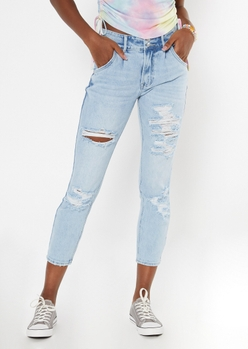 light wash ripped double button ankle mom jeans - Main Image
