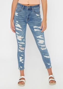 medium wash ripped ankle mom jeans - Main Image