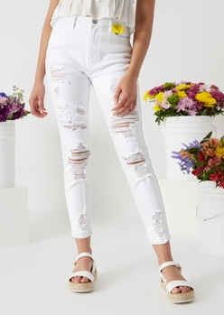 white high waisted ripped ankle jeggings - Main Image