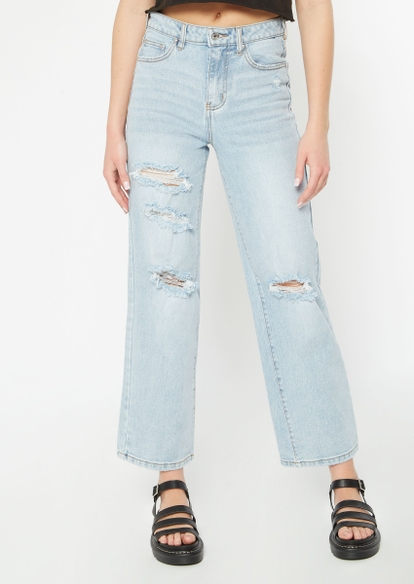 light wash super high waisted ripped skate jeans - Main Image
