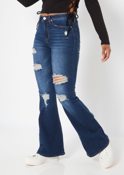 dark wash high rise ripped flare jeans - Main Image