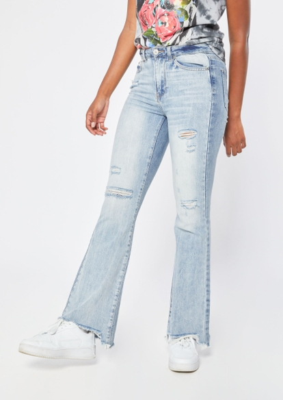 two tone light wash high rise ripped flare jeans - Main Image