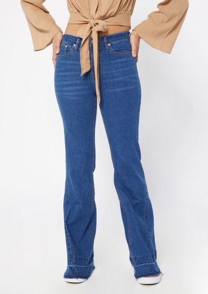 dark wash super high rise seam hem flare jeans - Main Image